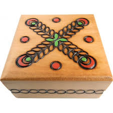 square pine stained wooden jewelry box with branded leaves design