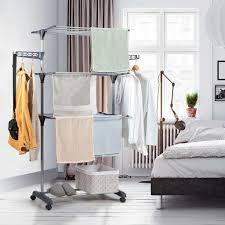 costway waeschestaender faltbar waeschetrockner rollbar standtrockner kleiderstaender mit faltregalen schuhablage schwenkbaren haken grau