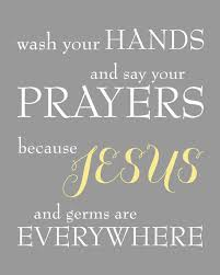 Yellow And Gray Bathroom Wall Art by Wash Your Hands And Say Your Prayers Because Jesus And Germs Are