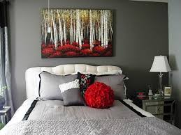 Sophisticated 1930s Era Bedroom Cool Gray With A Splash Of Red Painting Forrest