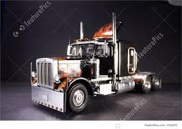 Truck Transport: Flaming Peterbilt 359 Semi Truck - Stock Picture ...