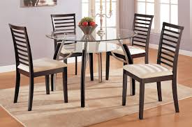 Modern Wooden Dining Chairs With Ivory Pad And Double Glass Round Table In Room Interior Design Ideas High Back Chair Designs Awesome