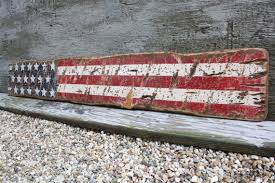Rustic Wood American Flag Sign USA Star Liberty Distressed 4 Ft Of July
