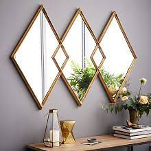 Mirror Wall Art Overlapping Diamonds Home Decor