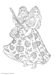 Barbie Coloring Pages The Princess Popstar Throughout