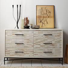 Wood Tiled 6 Drawer Dresser