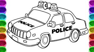 Police Car Drawing And Coloring Page