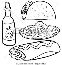 mexican food clipart black and white 1