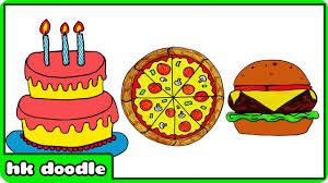 How to Draw a Birthday Cake Pizza Burger and Many More Easy Drawings for Kids by HooplaKidz Doodle