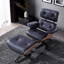 Modern Sources - Mid Century Recliner Lounge Chair With Ottoman Real Wood  Genuine Italian Leather Eames Replica (Black Palisander) Vitra Lounge Chair Ottoman Santos Palisander Nero Alinium Polished Sides Black Vintage Black Leather Ekornes Strless Chairs Ottomans A Pair Eames Version Charles And Ray Designer Lounge Chair With Ottoman In Details About Style 100 Pu Rosewood Replica Italian Walnut Frame Bully By Zuo Modern And In Oak Plywood