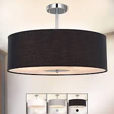 deckenleuchte sparksor stoff deckenle schwarz rund pendelleuchte für wohnzimmer schlafzimmer küche esszimmer durchmesser 45cm chrom matt