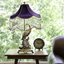 Poetic Wanderlust By Tracy Porter Pluma Peacock Velvet Shade With Beaded Trim And Gold Base Table