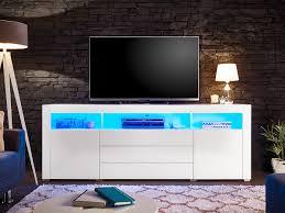 tv lowboard weiß hochglanz 200 cm mit beleuchtung goal