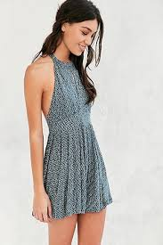 Ecote High Neck Keyhole Blue Patterned Playsuit Summer DressesMini