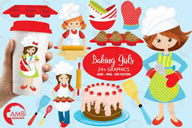 Baking Clipart Chefs Clipart Girl Chef Clipart Bake Sale Clipart Kitchen Clipart mercial Use AMB 1102 from AMBillustrations on Etsy Studio