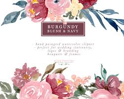 Burgundy Blush Navy Floral Watercolor Bouquets Borders Corners Frames Features A Set Of Pre