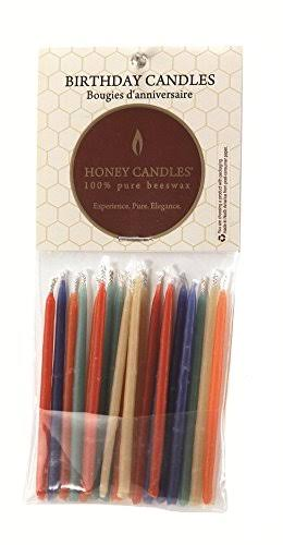 "Honey Candles Pure Beeswax Birthday Candles - Royal Colors, 3"", 20pk"