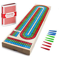 Cribbage Traditional Wooden Board Game Classic 3 Track Layout Plastic Pegs With