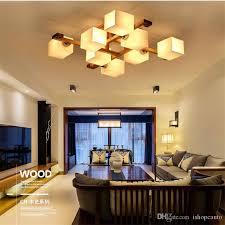 großhandel nordische hölzerne deckenleuchten für wohnzimmer für wohnzimmer led moderne schlafzimmer home decoration indoor gla lenschatten