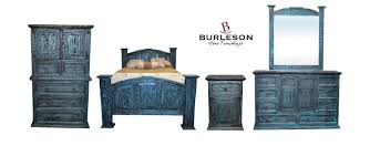King Size Real Wood Turquoise Scraped Reclaimed Look Bedroom Set