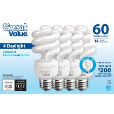 great value 60 watt equivalent 14w daylight cfl lightbulb 4pk