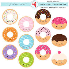 Cute Donuts Clipart Set Clip Art Of By Mycutelobsterdesigns