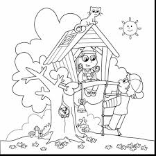 Stunning Tree House Coloring Pages Printable With Summer And Clothes