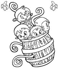 Four Monkey Play With A Wooden Barrel Coloring Page