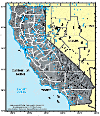 Relief Map Of California With County Border Outlines