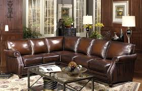 decor brown leather sectional sofa with nailhead trim and wood