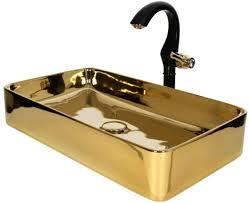 casa padrino luxus waschtisch set schwarz gold 61 x 31 x h 26 1 cm eleganter einhebel wasserhahn mit rechteckigem waschbecken luxus bad zubehör