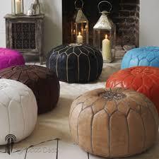 pouf design cuir marocain noir pouf en cuir véritable fait