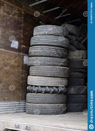 100 Cheap Semi Truck Tires Old Are Piled In Pile In Trailer Stock Image