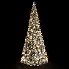 7ft Pre Lit Christmas Trees by Pre Lit Snow Flocked Pop Up Christmas Tree 1 8m 200 Warm White