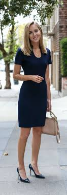 Navy Knit Sheath Dress Patent Leather Pointed Toe Pumps Nude Satchel Office Attire Women Professional OutfitsCorporate