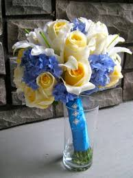 yellow and blue bridal bouquets Floralshowers