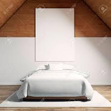foto modernem schlafzimmer im chale haus leere weiße leinwand an der holzwand und klassischen doppelbett holzboden hängen