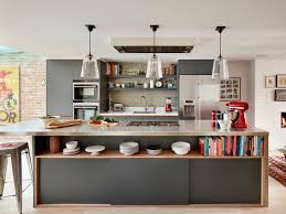 Long Lower Shelf In Grey Island For Appealing Kitchen Decor Ideas With Glossy Top Near