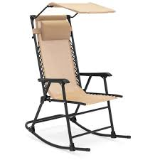 Folding Zero Gravity Mesh Rocking Chair W/ Sunshade Canopy, Steel Frame