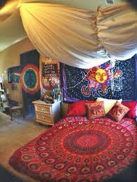 Use Mandala Tapestry As A Bed Cover And Hang Sun On Front Of The Wall You Can Some Elephant Embroidered Pillow Into Your Bedroom Well