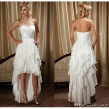 Country Wedding Dresses 2016 Short High Low Sweetheart Chiffon Ruffles Tiered Formal Vestidos A Line Cheap