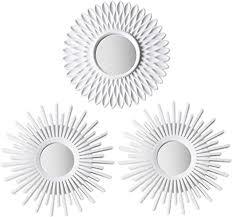 bonnyco spiegel rund weiß 3 stück spiegel klein wanddeko wohnzimmer haus und schlafzimmer spiegel wand zum aufhängen und dekorieren spiegel