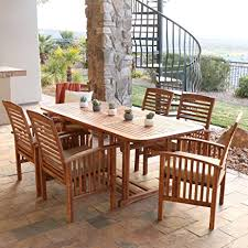 7 Piece Patio Dining Set by Amazon Com Walker Edison Solid Acacia Wood 7 Piece Patio Dining