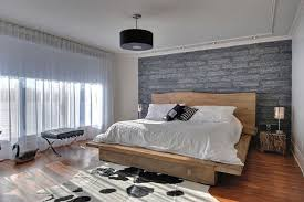 Modern Rustic Bedroom With Stone Wallpaper