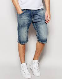 image 1 of diesel denim shorts thashort slim fit in light distress