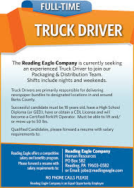 Truck Driver Job In Pa-Reading - Reading Eagle I Want To Be A Truck Driver What Will My Salary The Globe And Entrylevel Truck Driving Jobs No Experience Driver Job In Pareading Reading Eagle Resume Format For Post Fresh Objective Heres What Its Like Woman Owner Operator Car Hauler Salary Lovely Wages How Pay School Flatbed Become 13 Steps With Pictures Wikihow Entry Level Trucking Went From Great Job Terrible One Money Cdl Beast Page 2 Class A Traing Small Best Of Ups Enthill