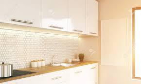 seitenansicht des weißen luxus küche inter mit leeren pinnwand und fenster getönten bild mock up 3d rendering