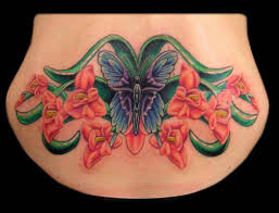 Big Nice Butterfly With Awesome Gladiolus Tattoo On Lower Back