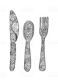 Hand drawing fork knife and spoon ornate royalty free stock vector art