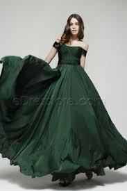 off the shoulder forest green mother of the bride dresses dark